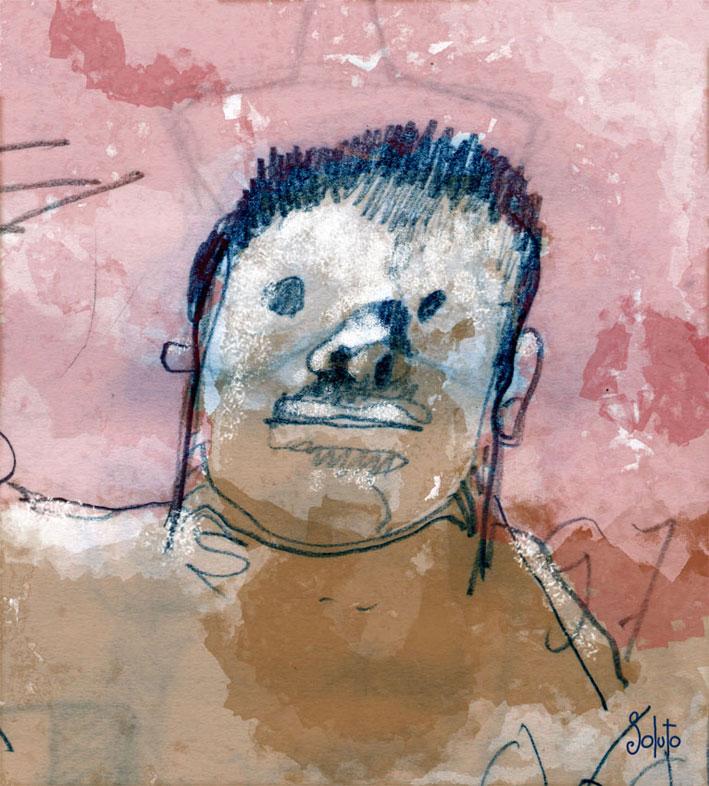 Soluto portrait croquis encre de chine peinture dessin