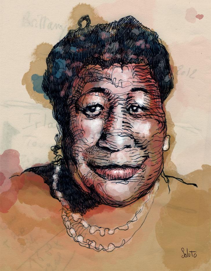Soluto portrait ecriture aquarelle Ella Fitzgerald peinture dessin