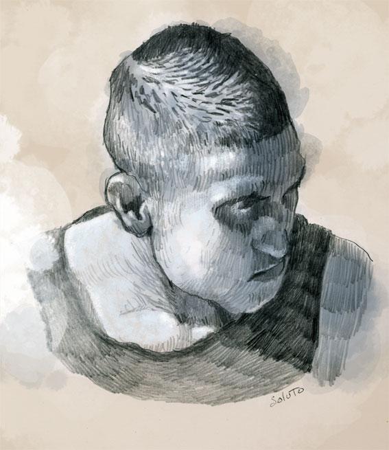Soluto glace sans tain portrait ecriture peinture dessin