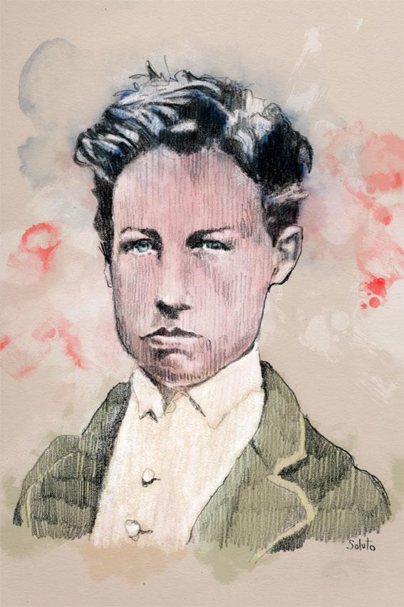 Soluto glace sans tain Arthur Rimbaud ecriture peinture dessin