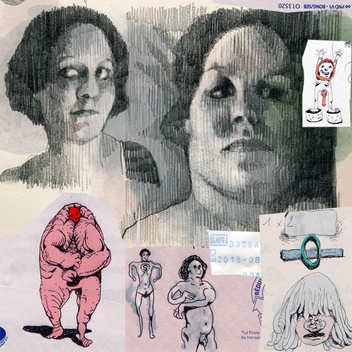 dessin soluto bloc marge enveloppe croquis portrait crayon ecriture peinture