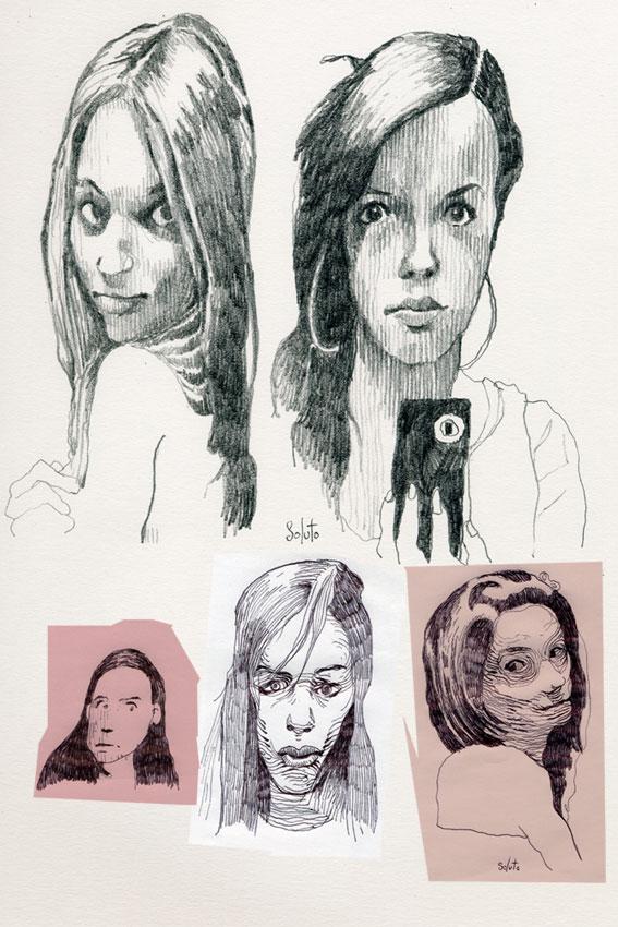 dessin soluto bloc selfie narcisse croquis portrait crayon ecriture peinture