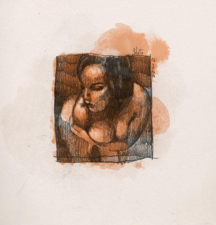 dessin soluto femme nue croquis portrait crayon ecriture peinture