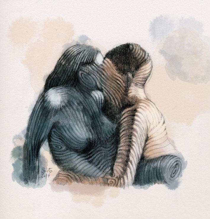 dessin soluto bloc croquis portrait fille crayon ecriture peinture
