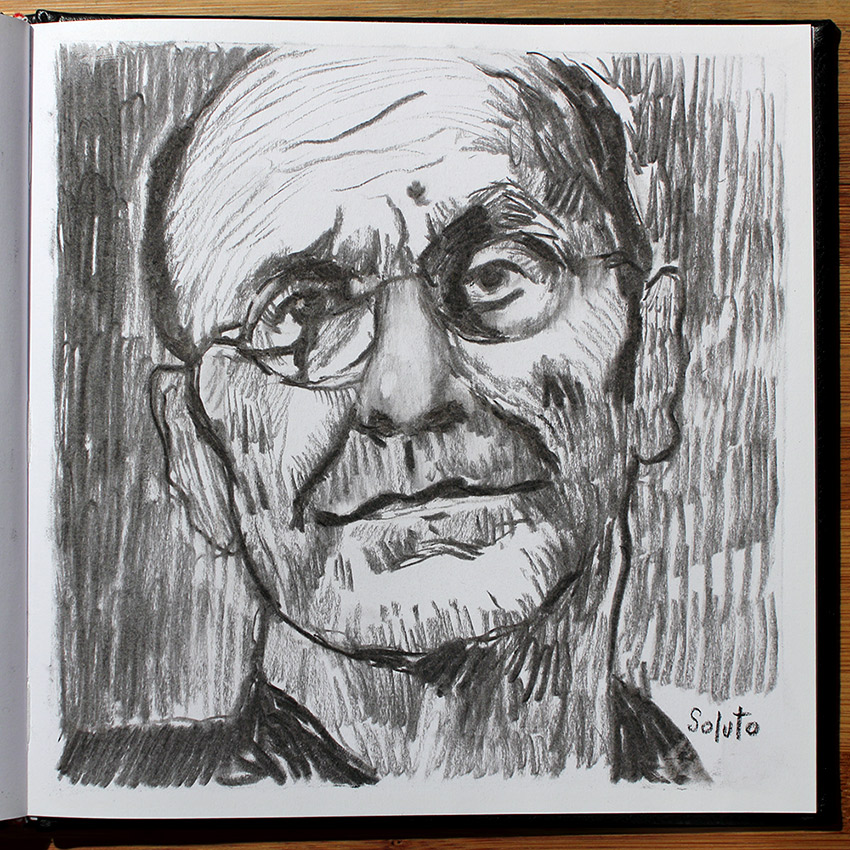 autoportrait, dessin, Michel Simon, fusain, board, grey, painting, body, oil on canvas, huile sur toile, soluto peinture