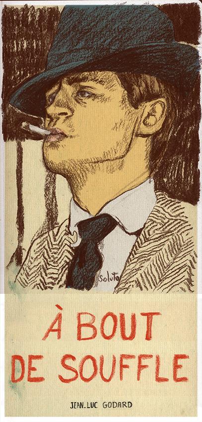 autoportrait, dessin, belmondo, a bout de souffle, Jean-Luc Godard, fusain, board, grey, painting, body, oil on canvas, huile sur toile, soluto peinture