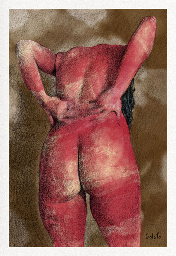 Lesbos, nu, body, graphite, dessin, fusain, board, grey, body, soluto peinture, digital, numerique