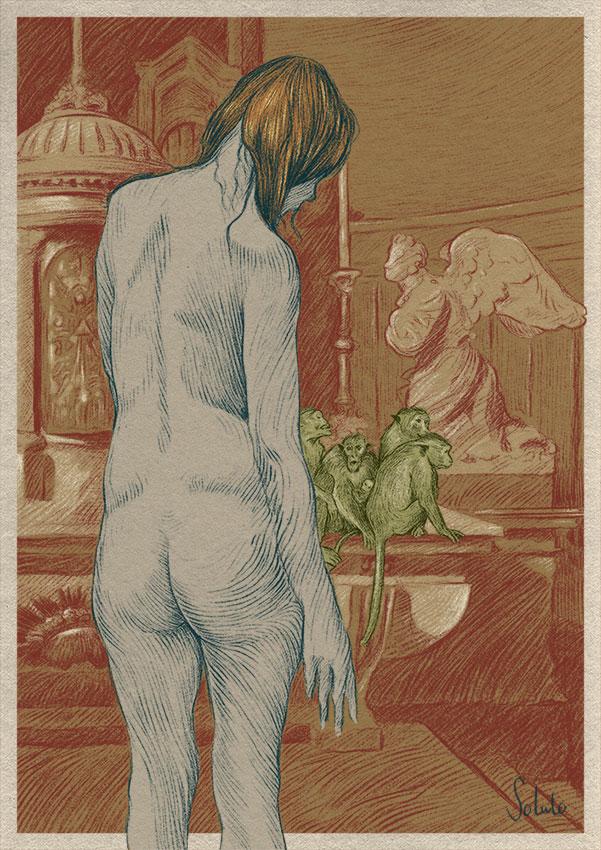 Lesbos, nu, body, graphite, dessin, fusain, board, grey, body, soluto peinture, digital, numerique