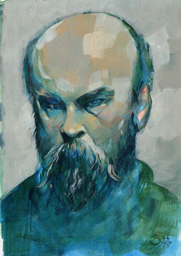 Paul Verlaine, graphite, dessin, fusain, board, grey, body, soluto peinture