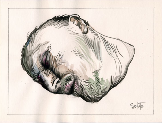 portrait soluto crayon croquis aquarelle cadavre