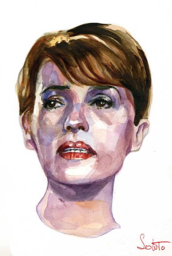 aquarelle portraits Jeanne Moreau soluto