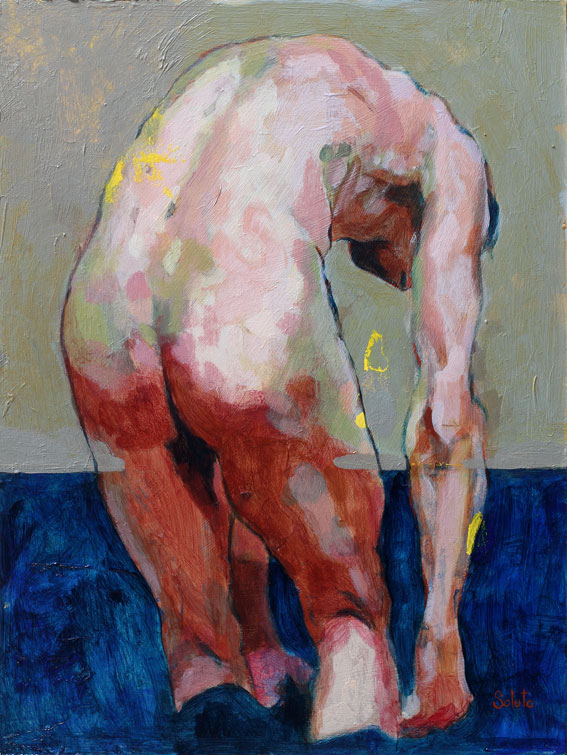 nu, acrylique, board, grey, painting, body, soluto