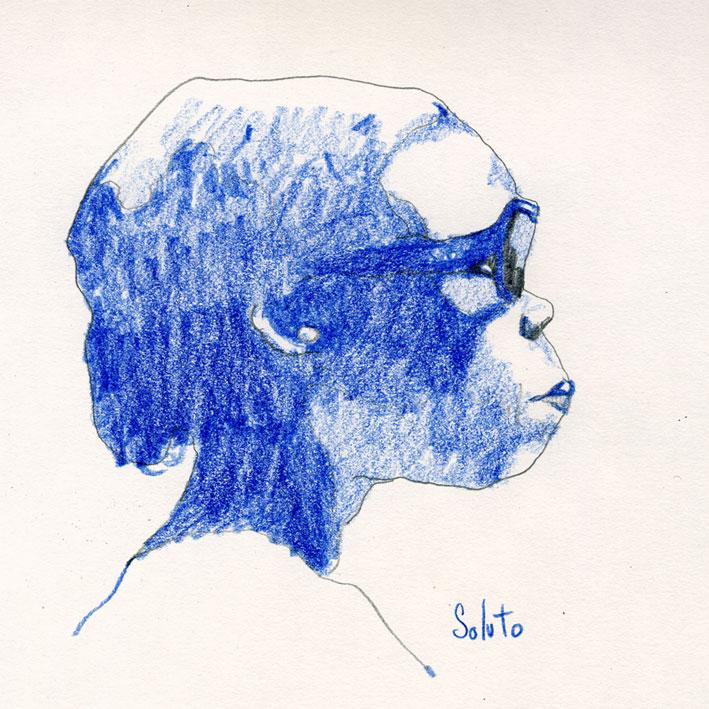 portrait, crayon, bonne femme, acrylique, board, grey, painting, body, soluto