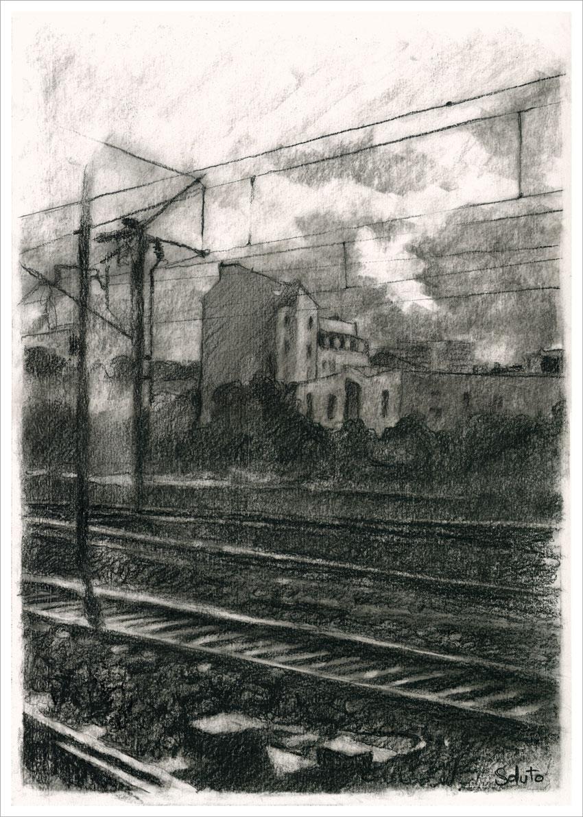 paysage, croquis havrais, dessin, grey, soluto