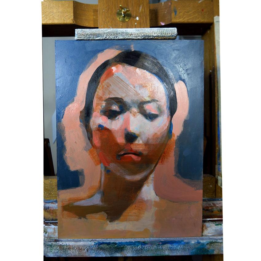 acrylique, panneau, painting, peinture, grey, soluto