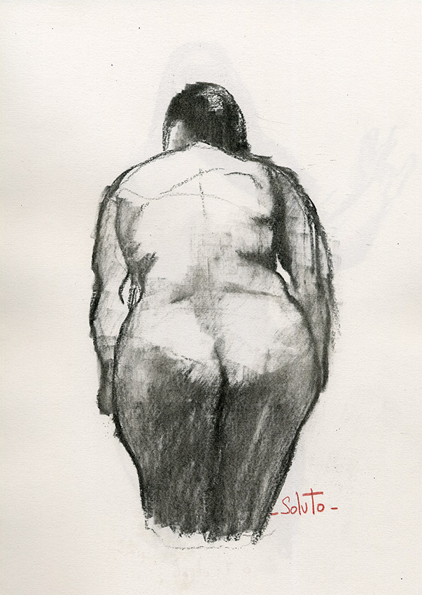 fusain, nu, work on paper, #solutodessins, fusain sur papier, board, grey, painting, body, soluto